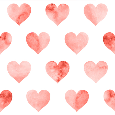 Seamless pattern with watercolor red hearts on white background. Living Coral color of the year 2019.