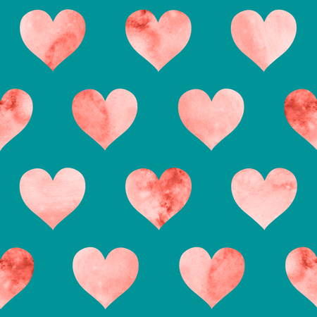 Seamless pattern with watercolor red hearts on blue background. Living Coral color of the year 2019.