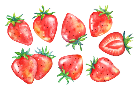 Set of watercolor strawberries isolated on white background. Stok Fotoğraf