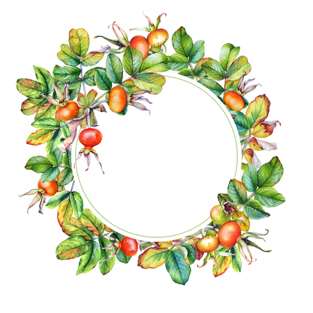 Floral frame with watercolor on white background.