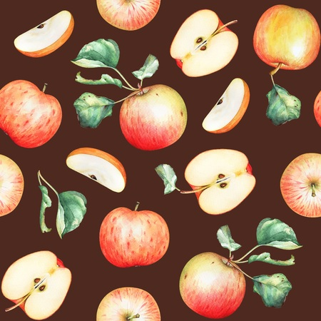 Seamless pattern with watercolor red apples and green leaves on brown background Stok Fotoğraf