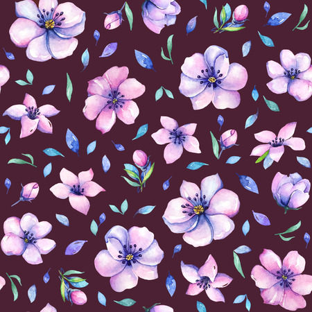 Seamless pattern with hand drawn watercolor purple and pink flowers and blue leaves on brown background.