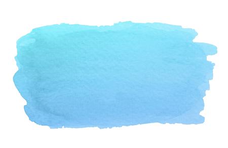 Trazo de pincel azul abstracto acuarela con manchas y bordes ásperos aislados sobre fondo blanco.