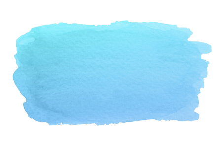 Watercolor abstract blue brush stroke with stains and rough edges isolated on white background.
