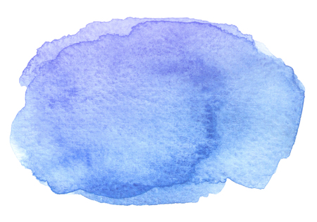 Watercolor abstract blue brush stroke with stains and rough edges on white background.