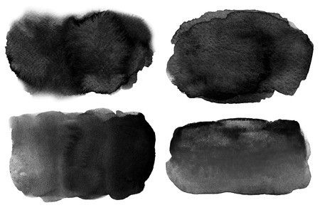 Collection of abstract watercolor black backgrounds with stains and paper texture