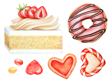Collection of watercolor sweet dessert items. Cake, candies and bisquits for sweet design