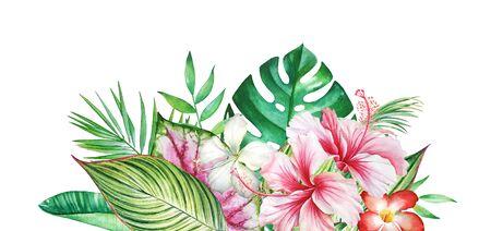 Watercolor floral tropical composition.