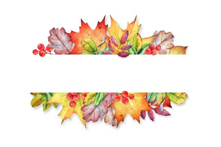 Floral design with watercolor autumn plants. Stok Fotoğraf