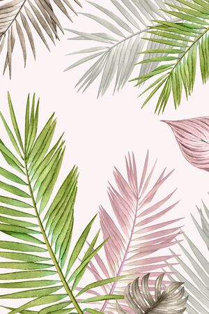 Watercolor tropical plants in pastel colors.