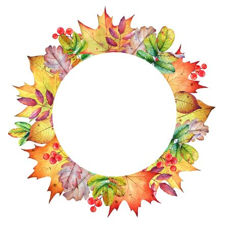 Round frame with autumn leaves and berries.