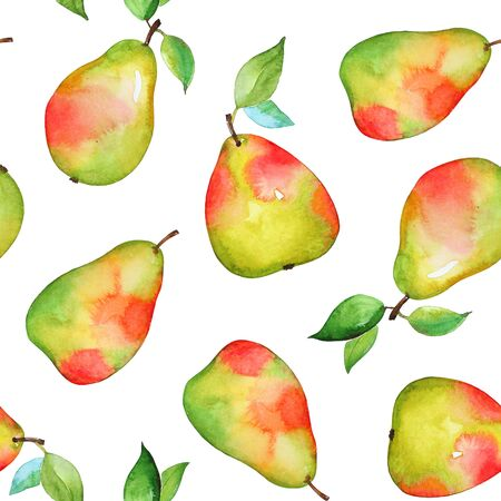 Watercolor yellow pears on white background Stock fotó