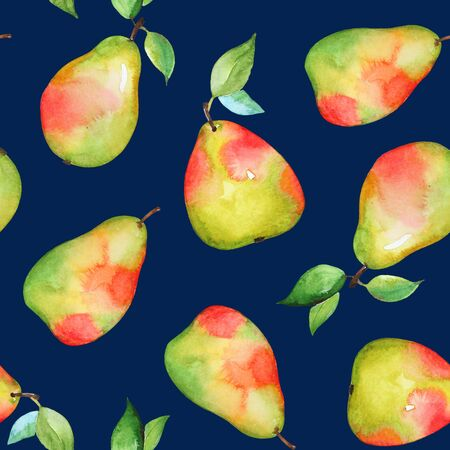 Watercolor yellow pears on dark blue background Stockfoto - 128606372