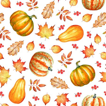 Seamless pattern with autumn leaves, pumpkins and berries. Stockfoto
