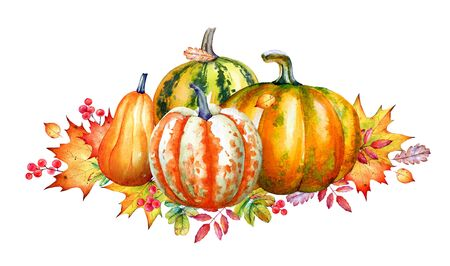 Autumn composition with watercolor pumpkins and yellow leaves.