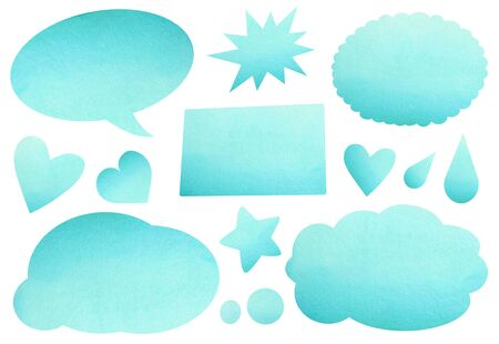 Watercolor abstract backgrounds for text, blue speech bubbles. Stockfoto