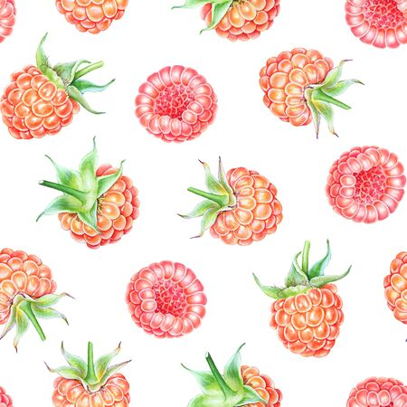 Seamless pattern with yellow and red raspberries.