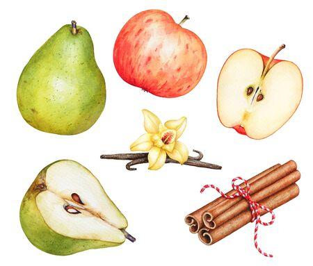 Cinnamon sticks, ripe apple, pear, vanilla sticks with flower.