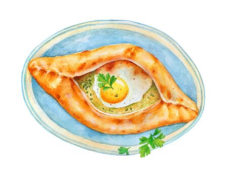 Traditional Georgian dish Adjarian Khachapuri.