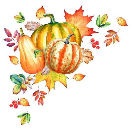 Autumn corner composition with watercolor pumpkins and dry yellow leaves on white background.