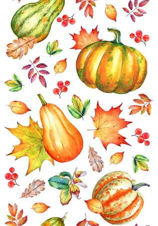 Vertical seamless pattern with watercolor pumpkins and  autumn dry yellow leaves on white background.