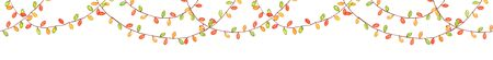 Seamless pattern with watercolor garland on white background. Decorative element for Christmas, new year and other holidays design.