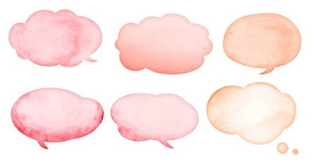 Collection of watercolor speech bubbles with stains and paper texture Imagens