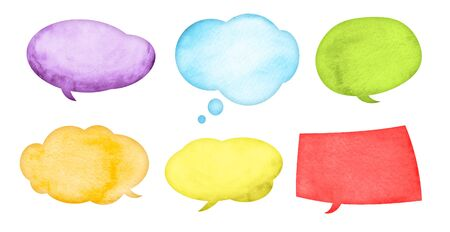 Watercolor speech bubbles with stains and paper texture