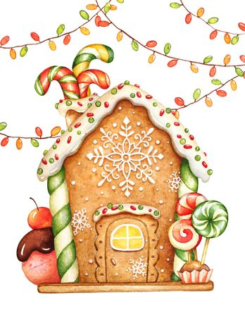 Watercolor illustration of gingerbread house with glaze, sweets and garlands. Christmas holiday mood. Imagens