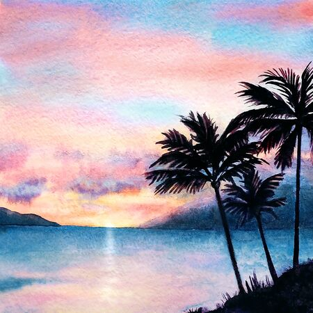 Watercolor tropical sunset landscape with sea, pink clouds and palm silhouettes. Imagens