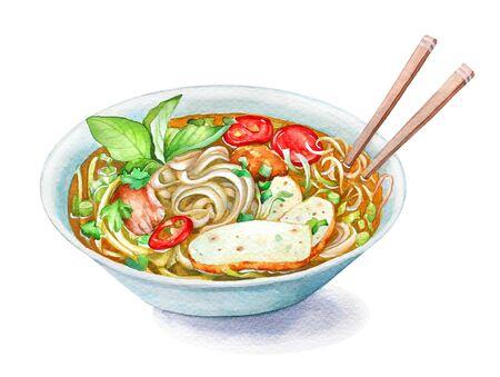 Illustration of Vietnamese fish cake noodle soup Bun Cha Ca.