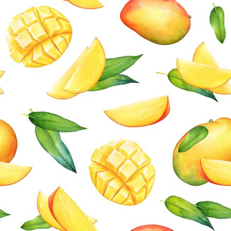 Seamless pattern with watercolor mango fruits and green leaves on white background Imagens