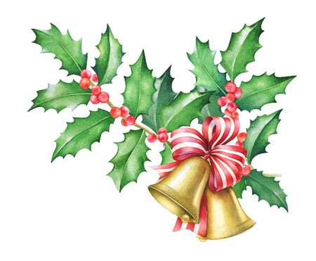 Watercolor Christmas illustration of bells with red ribbon and holly tree branches. isolated on white background.