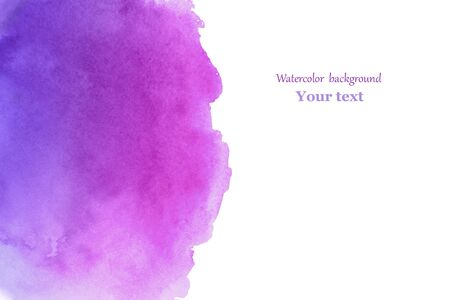 Abstract watercolor purple brush stroke with stains for your design.