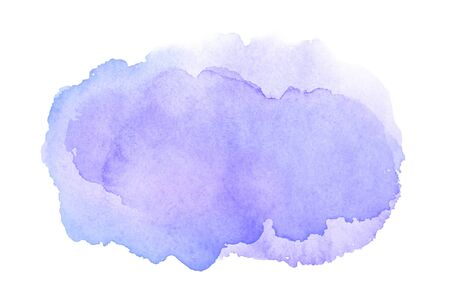Abstract purple watercolor fill with stains isolated on white background