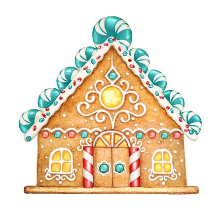 Watercolor illustration of gingerbread house with glaze, sweets and garlands. Christmas and New Year holiday mood.