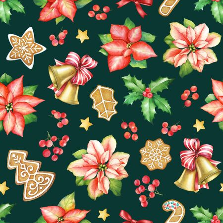 Seamless pattern with watercolor red  poinsettia flowers with green leaves, ginger cookies, sweets and holly berries. Imagens