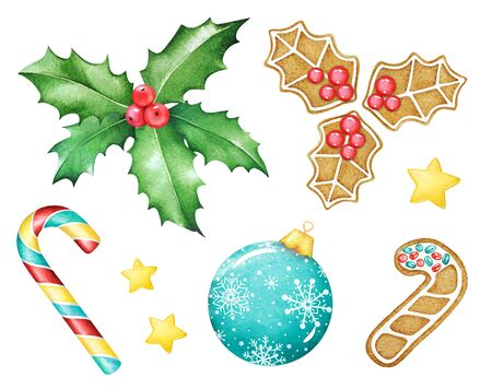Watercolor illustrations of cookies, sweets and decorative elements for christmas and new year design. Imagens