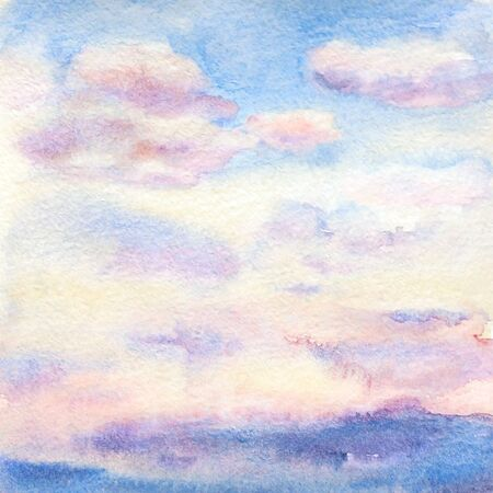 Watercolor illustration of the sky with beautiful multicolor sunset clouds and paper texture.