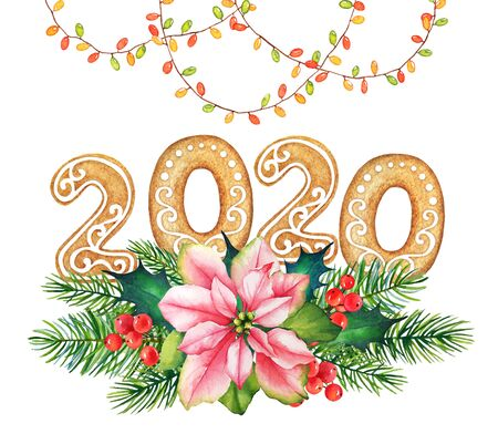 Watercolor new year illustration of ginger cookies with floral decoration and garlands isolated on white background. Food lettering.