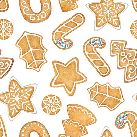 Seamless pattern with watercolor ginger cookies on white background.