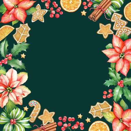 Frame with watercolor poinsettia flowers, holly branches with berries, ginger cookies and cinnamon sticks on dark green background. New Year mood.