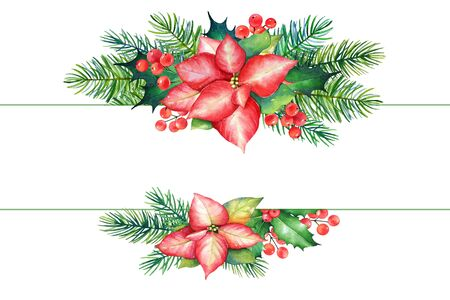 Decorative Christmas elements with watercolor branches of poinsettia, holly and pine tre. Imagens