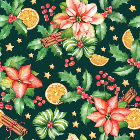 Seamless pattern with watercolor  poinsettia flowers with green leaves, dry oranges, cinnamon sticks and holly branches with berries. New Year mood.