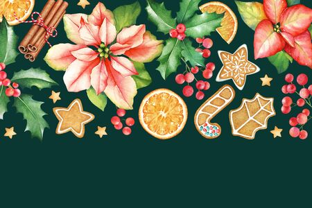 Pattern with watercolor poinsettia flowers, holly branches with berries, ginger cookies and cinnamon sticks on dark green background. New Year mood. Imagens