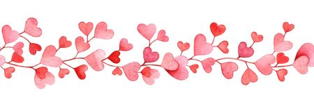 Seamless pattern with watercolor pink hearts isolated on white background. Useful for design of the Valentines day items, weddings, web, banner, border, cards and other. Imagens