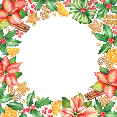 Frame with watercolor red poinsettia flowers, ginger cookies, sweets and holly berries. For Cristmas and New Year design. Imagens