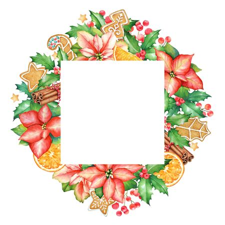 Frame with watercolor poinsettia flowers, holly branches with berries, ginger cookies and cinnamon sticks on white background. New Year mood. Stock fotó