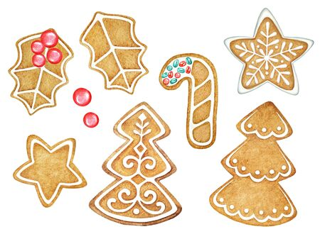 Watercolor gingerbread cookies isolated on white background. New Year mood.