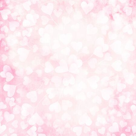 Abstract artistic watercolor pattern with hearts. Valentines day background.